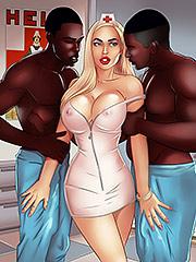 Shit, that feels good - Interracial cartoon porn by Michi