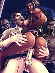 Balls deep bitch - Interracial cartoon porn: The Walking Dead, Michonne, Rick Grimes by Michi