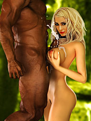 Your cuckold husband must be jerking off in the bushes already - Interracial cuckold  by Interracial sex 3D 2016