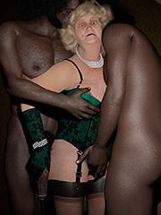 Vintage granny takes two hung black stud - Cum on granny by Nylon3D
