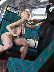 Luscious 3D babe with big tits - Scarjo/Train by ZZ2Tommy