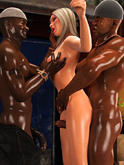 Nobody ever fucked me like this - White slut in da hood  by Interracial sex 3D 2016