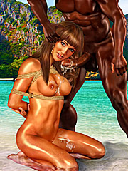 Just relax your throat and take my cock balls deep - Interracial cuckold  by Interracial sex 3D 2016