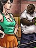 He is wearing an old worn out white t-shirt and baggy jeans - The produce man by Illustrated interracial