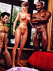 Open up that sweet pussy hole for my monster cock - Cuckold husband initiation  by Interracial sex 3D 2016